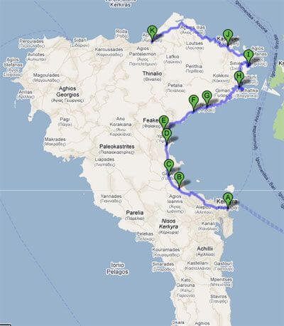 Rent a car and explore Corfu – Itinerary 1